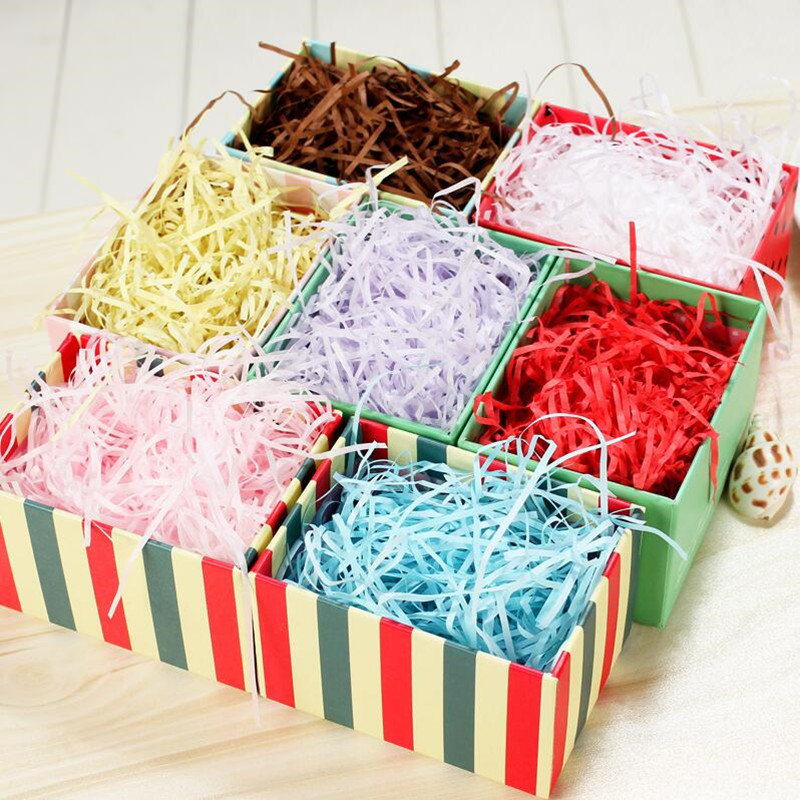 500g Wedding Accessories DIY Raffia Paper Box Shredding Silk Candy Box Filled Gift Packaging Paper Wire Gift fillings Decorative