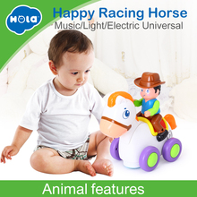 Купить с кэшбэком HUILE TOYS 838A Baby Toys Happy Racing Horse with Music & Lights Kids Crawl Styling Toy for Children 18 month+
