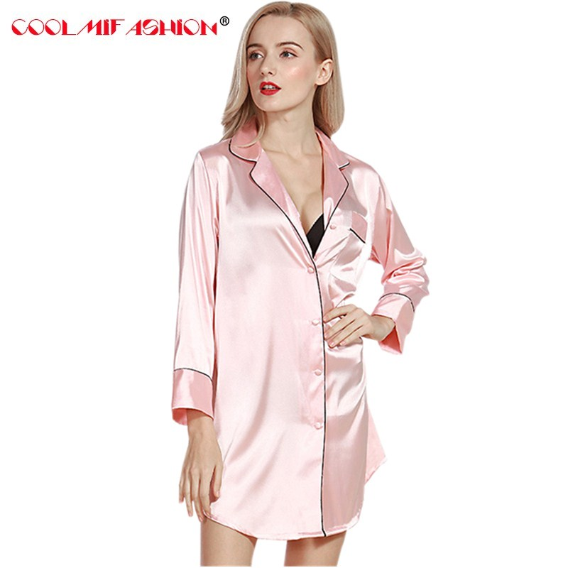 Faux Silk Spring Summer Style Ladies Silky Single Bathrobe Female Pyjamas Lounge Woman solid sexy top sexy Sleep Shirt Famale