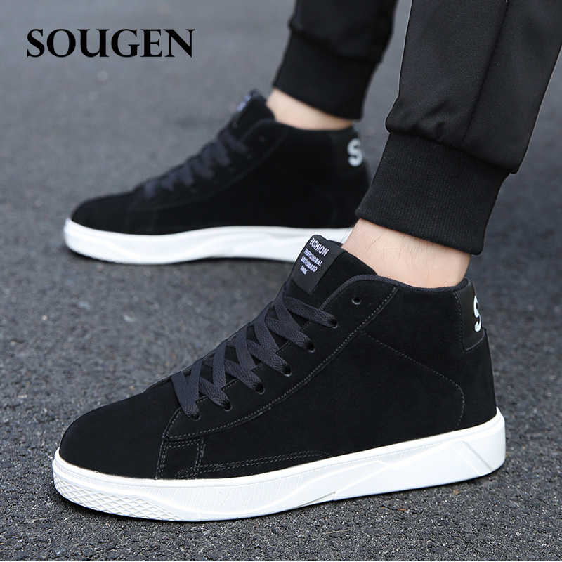 Winter Leather Casual Shoes Male Shoes Adult Ons Men Platform Shoes High Top Shoe Trainers Footwear Krasovki Mens Big Size Pu 46 men winter shoes high top sneakers men fashion plaid mens shoes black white red footwear male vulcanize shoes platform shoes