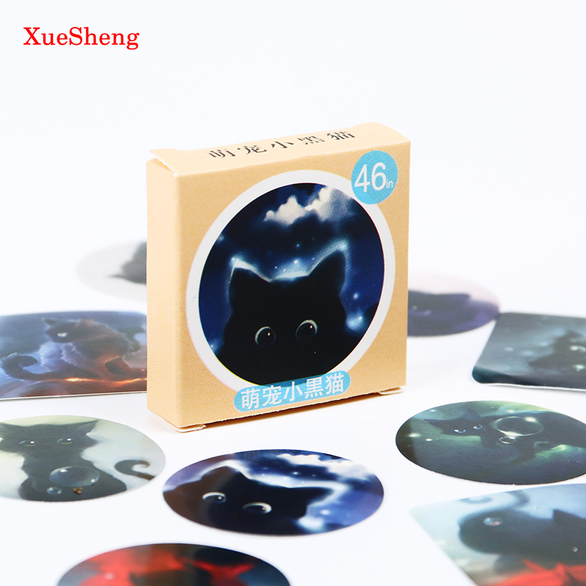 92 PCS/pack Star Sky Black Cats Diary Stickers Post it Kawaii Planner Scrapbooking Sticky Stationery Escolar School Supplies