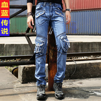 Multi Pocket Overalls Male Fashionable Casual Jeans Slim Straight Bags Jeans