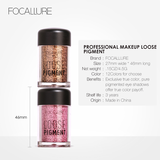 FOCALLURE 18 Colors Glitter Eye Shadow Loose Powder Shimmer Pigment Eyeshadow Makeup 4