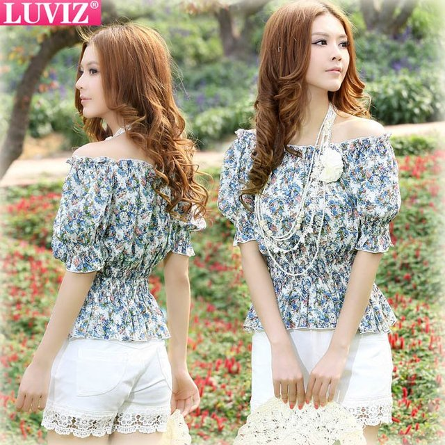 Free shipping New Stylish Women's cute short sleeve shirt Chiffon ladies' blouse  Floral Wholesales Top LUVIZ 1206