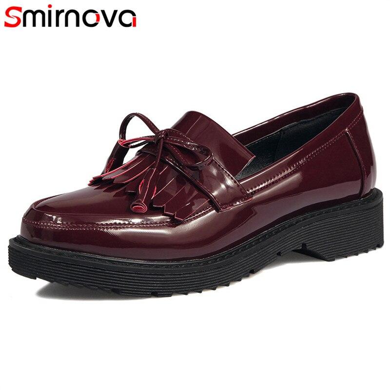 Taille Smirnova Oxford Arrivée Pompes Femmes Simple Vin Rouge Mode 2018 Printemps Chaude Vente Nouvelle Noir Chaussures Femme Grande vin Z0Y0Iwrq