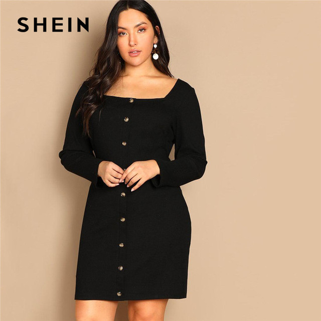 SHEIN Black Buttoned Long Sleeve Casual Plus Size Bodycon Short Dress Women Spring Office Stretchy Slim Fit Mini Dress