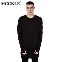 2015 Fashion Mens Extended Tee Long Sleeve Oversized Hip Hop Black White Grey Wool Tshirt Plus