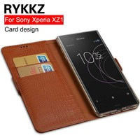 RYKKZ Genuine Leather Flip Cover Card For Sony Xperia XZ1 Protective Leather Cover For Sony G8342 Free Shipping