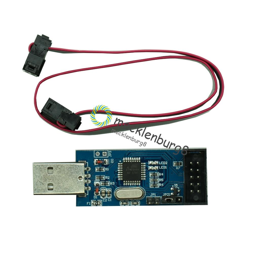 USBASP USBISP AVR Programmer 3.3V/5V ATMEGA8 ATMEGA128 USB ASP ISP ATtiny/CAN/PWM +10Pin Wire Support Win7 64Bit