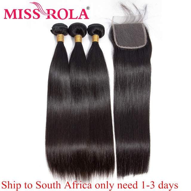 Miss Rola Brazilian Hair Weave Bundles 100% Human Hair Remy Straight Hair Extensions Natural Color 3 Bundles With Closure