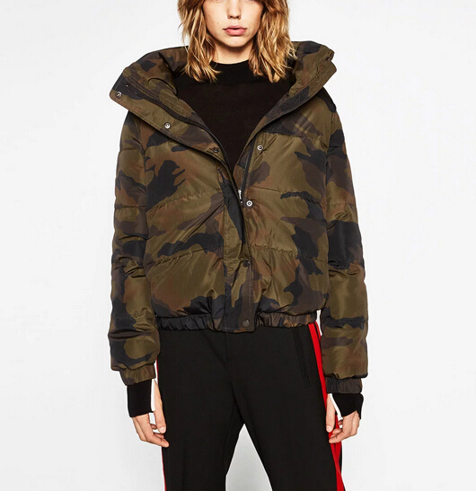 New 2016 Winter Jacket Fashion Women Down Coat Casual Ladies Camouflage Letter Print Cotton Parka Manteau Femme