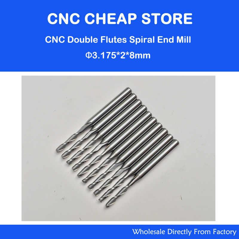 "10x 2.5mm Double Flute Spiral End Mill Cutter CNC 22mm CEL 1//8/"" 3.175mm Shank"