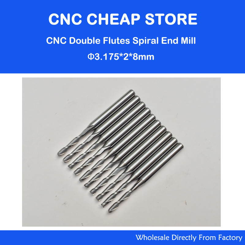 10pcs 3.175 Carbide CNC Milling Cutters Tools 2 Double Two Flute Spiral Bit Router End Mill CED 2mm CEL 8mm 10pcs 2 0 mm 2mm single flute carbide spiral end mills router bit 8mm cel