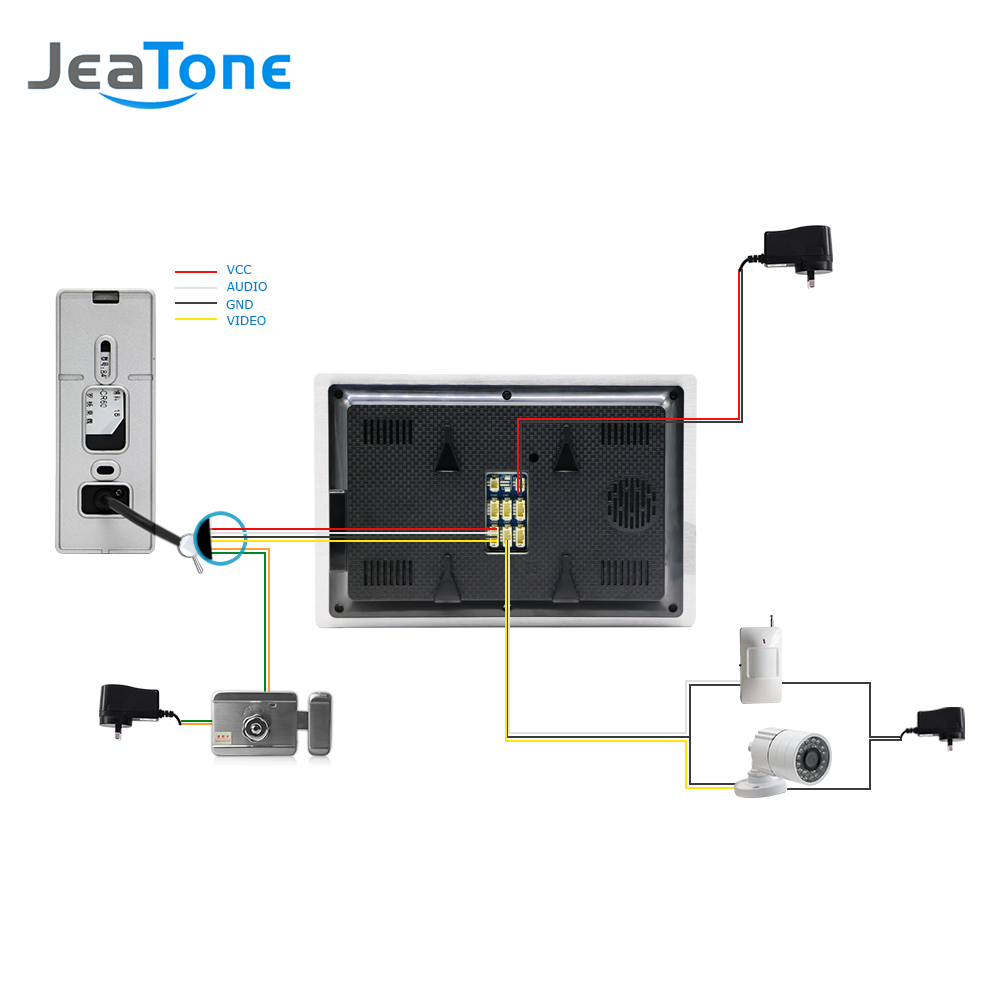 720p Ahd 7 Inch Video Door Phone Intercom Bell Speaker 4 Sensor Wiring Diagram Installing A Security Light With Pir Connection Ahd203 And Cctv Camera Installed To Work Together Can Alarm Recording Individual Power