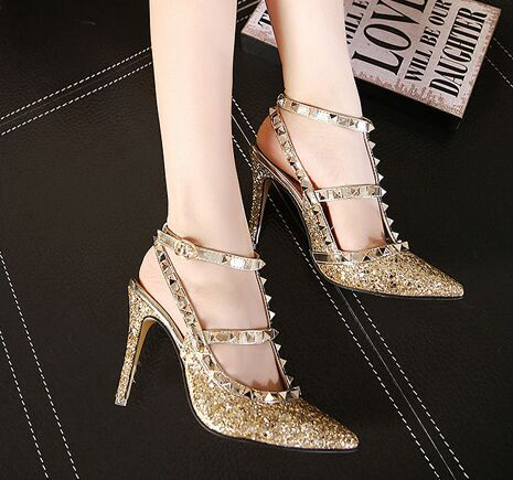 60999c3c71 scarpin branco Gladiator Rivets High Heels Women Pumps Golden Summer Women  Shoes zapatos mujer Salto Alto Mulher scarpin spike