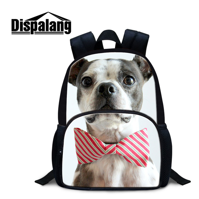 Dispalang cute baby boys mini back pack for school brand designer dog with tie puppy pug kids mochila 12 inch rucksack for child