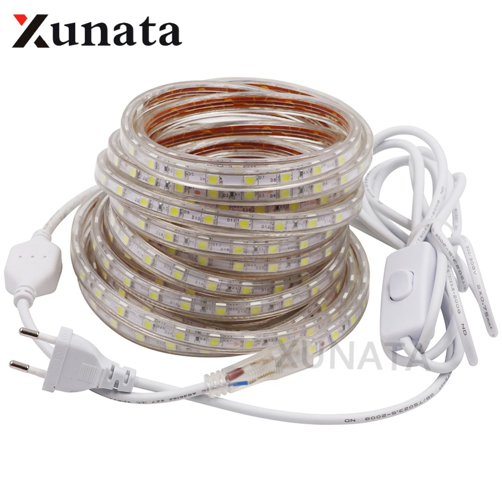 цена на AC220V LED Strip Light SMD 5050 60leds/m Red/Green/Blue/White/Warm IP67 Waterproof Flexible Led Tape Light with ON/OFF switch