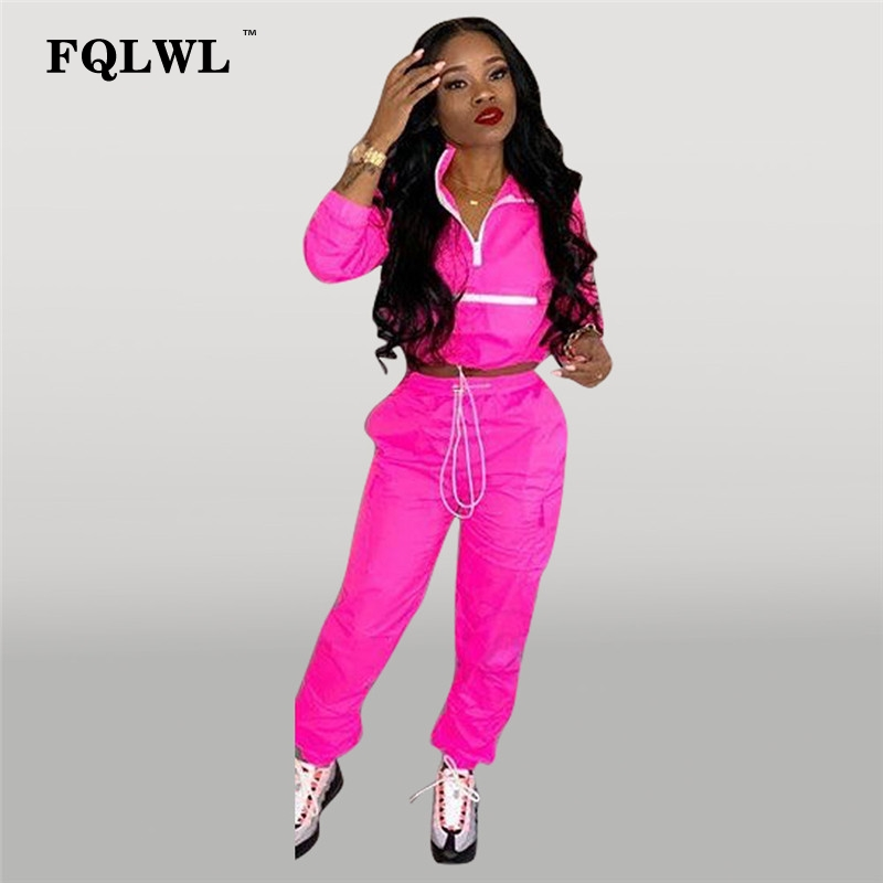 FQLWL 2 Piece Set Women Pink Outfits Zipper Long Sleeve Two Piece Set Crop Top And Pants Suit Tracksuit Women Matching Sets 2019