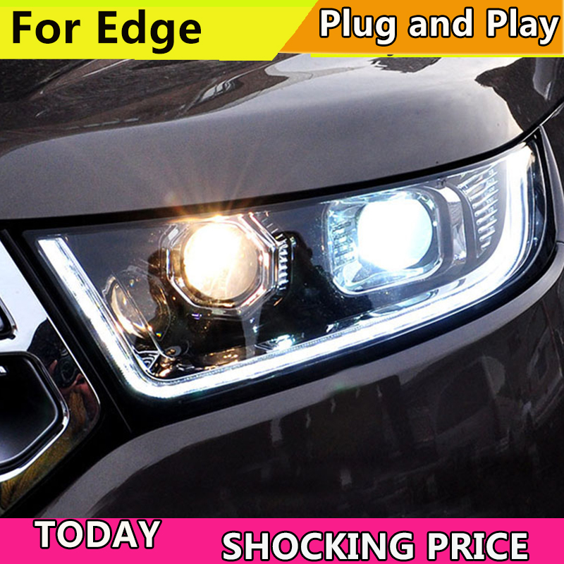 Car Styling for Ford Edge Headlights 2015-2018 New Edge LED Headlight DRL Hid Head Lamp Angel Eye Bi Xenon Beam Accessories