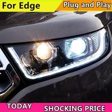 Car Styling per Ford Edge Fari 2015 2018 New Edge LED DRL Del Faro Hid Testa Della Lampada Dellocchio di Angelo Bi xeno Fascio Accessori