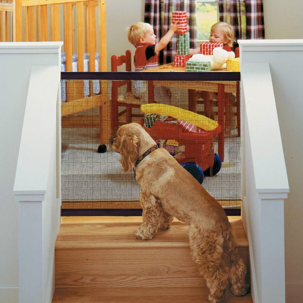 Magic Mesh Pet Dog Gate Door Barrier Safe Guard Fence Enclosure Easy Install US