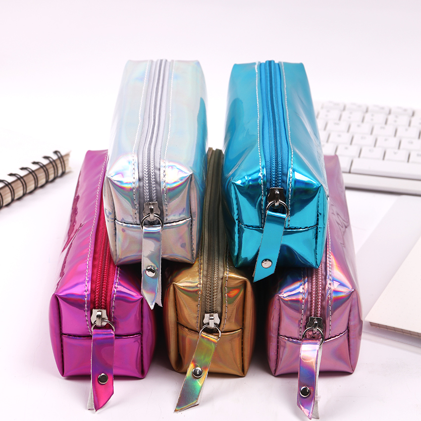1PC Fashion Multi Function PU Laser Reflective Pencil Bag Soft Pencil Case Durable Large Capacity School Supply Gift Stationery