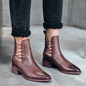 EshtonShero Women Ankle Boots Shoes Woman Cow Leather Platform Square Med Heels Autumn Classic Ladies Motorcycle Boot Size 3-9
