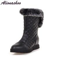 Alionashoo Winter plush flat bottom rabbit hair lady snow boots leather wool warm women shoes waterproof women boots botas mujer