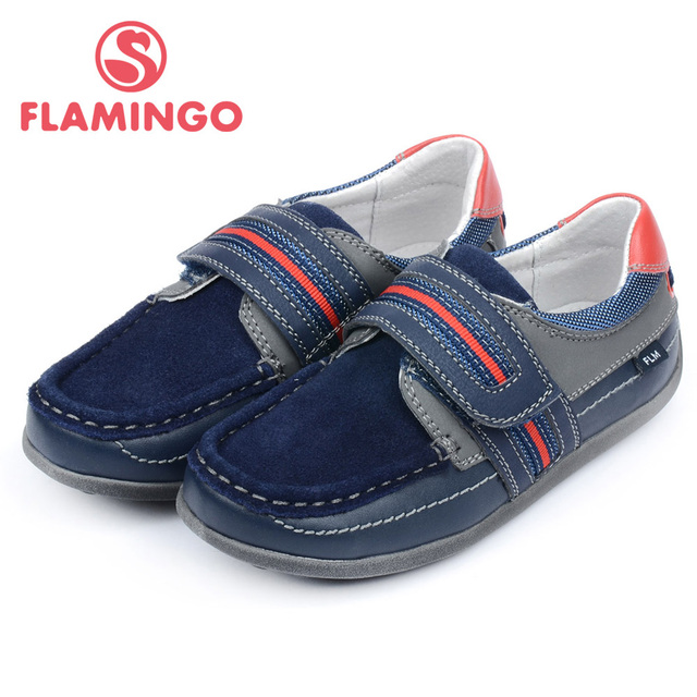 FLAMINGO 100% Russian Famous Brand 2017 Anti-skid Children Hook & Loop Waterproof Genuine Leather Shoes for Boy HT5103
