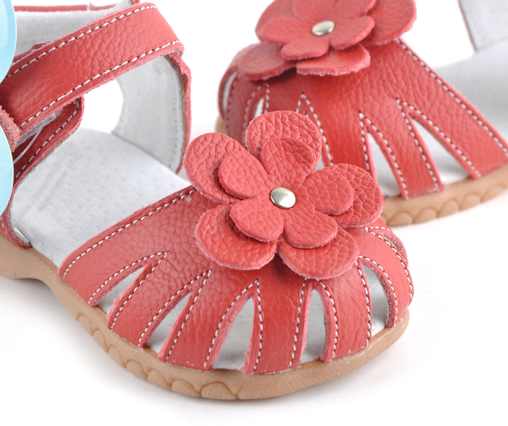Hot baby sandals soft leather red   with closed toe girls sandals SandQ baby summer shoes popular for years
