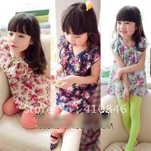 NEW Spring Kid's clothing girls V-neck dresses tops t-shirt Sleeveless floral dress 10 pcs lot