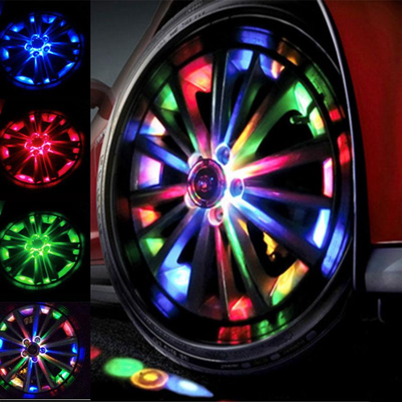 2PCS Solar Energy LED Car Auto Flash Wheel Tire Hub center cover Neon DRL Daytime Running