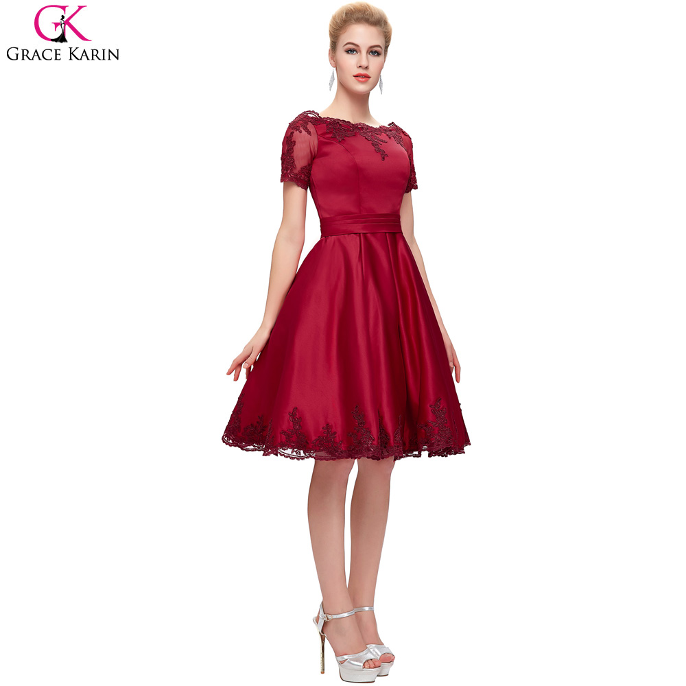 Red Ball Gown Knee Length Dress