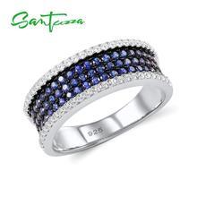 SANTUZZA bague en argent pour les femmes 925 en argent Sterling mode anneaux ronds pour les femmes 2017 zircon cubique anneau bijoux de fête