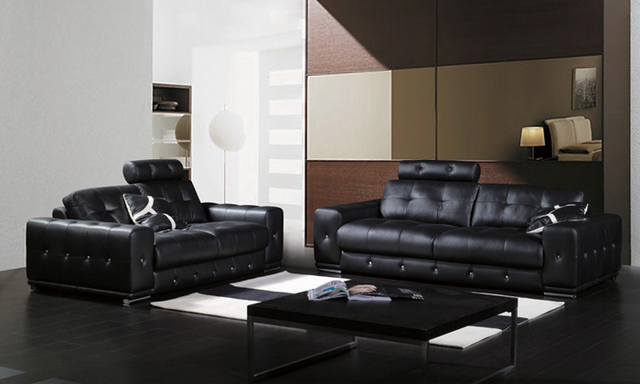 Free Shipping Classic 1 2 3 Black Leather Sofa Set Top Grain Leather And Solid  Wood