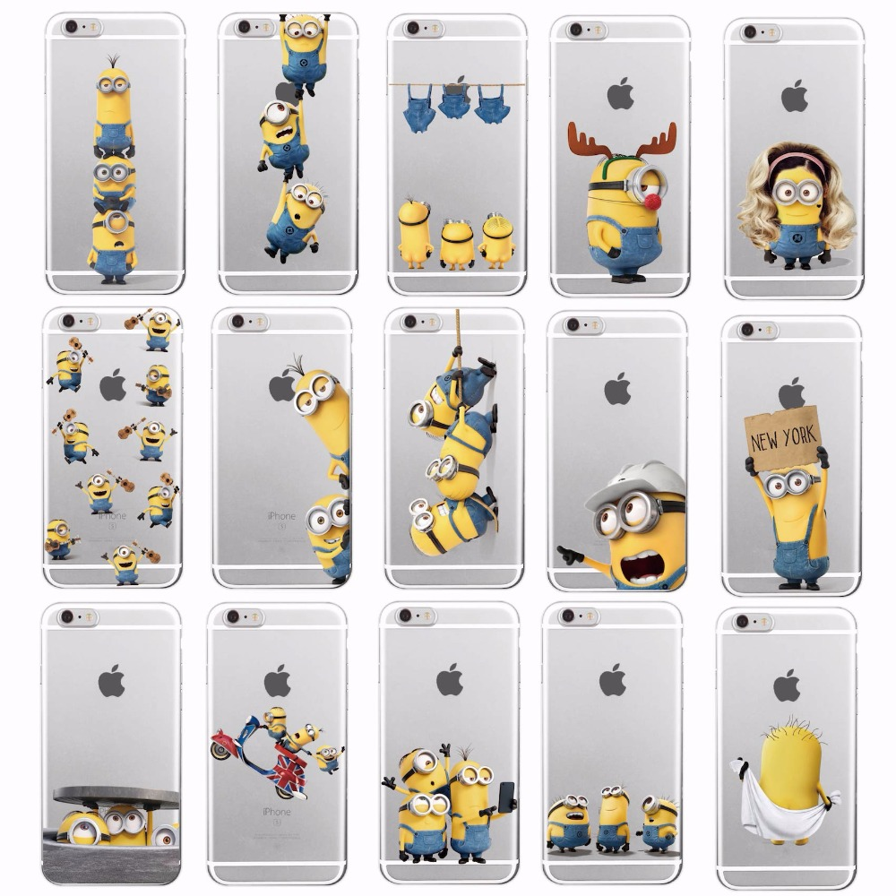 Cute Cartoon Cute Despicable Yellow Minions Soft Phone Clear Case Coque Fundas For iPhon ...