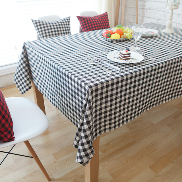 Linen Coffee Table Cloth Picnic Tablecloth 1 Pcs Black And White Lattice