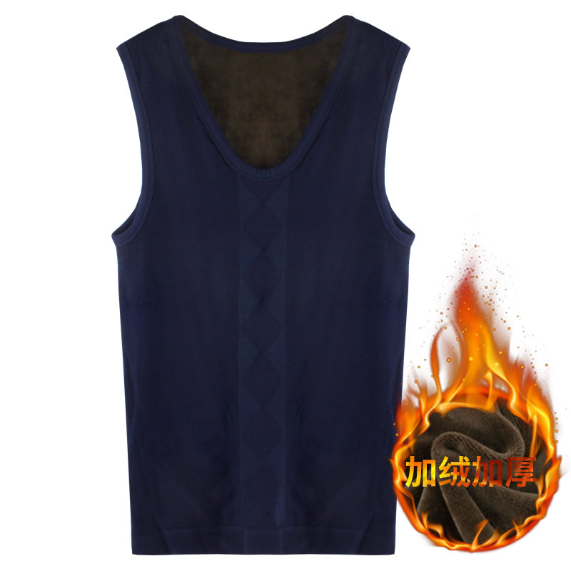 type wide shoulder sleeveless vest male backing thermo cashmere thermal velet underwear thickened skin winter warm   tank     top   men