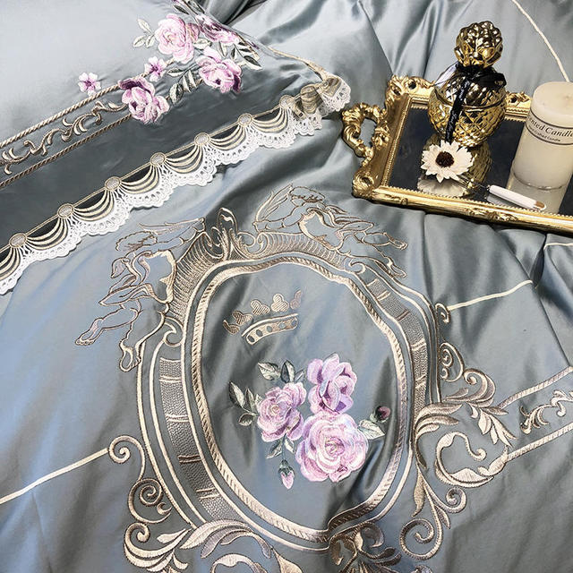 Egyptian cotton Luxury King Queen size Bedding Set Embroidery duvet covers Classical Blue Pink Bed cover set couvre lit de luxe 1