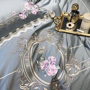 Image 2 - Роскошный комплект постельного белья из египетского хлопка королевского размера с вышивкой, пододеяльники, классический синий розовый комплект постельного белья