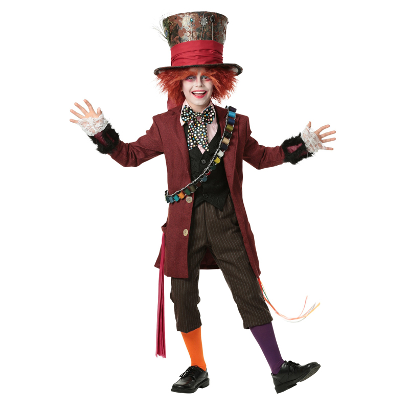 Child Boy's Authentic Mad Hatter Alice In Wonderland Halloween Costumes