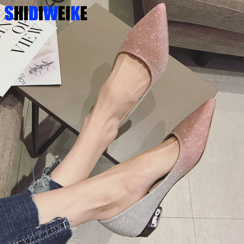 2020 Spring Women Shoes Pointed Toe Ballet Flats Fashion Sequined Cloth Slip on Ladies Flat Shoes Zapatos Mujer n551
