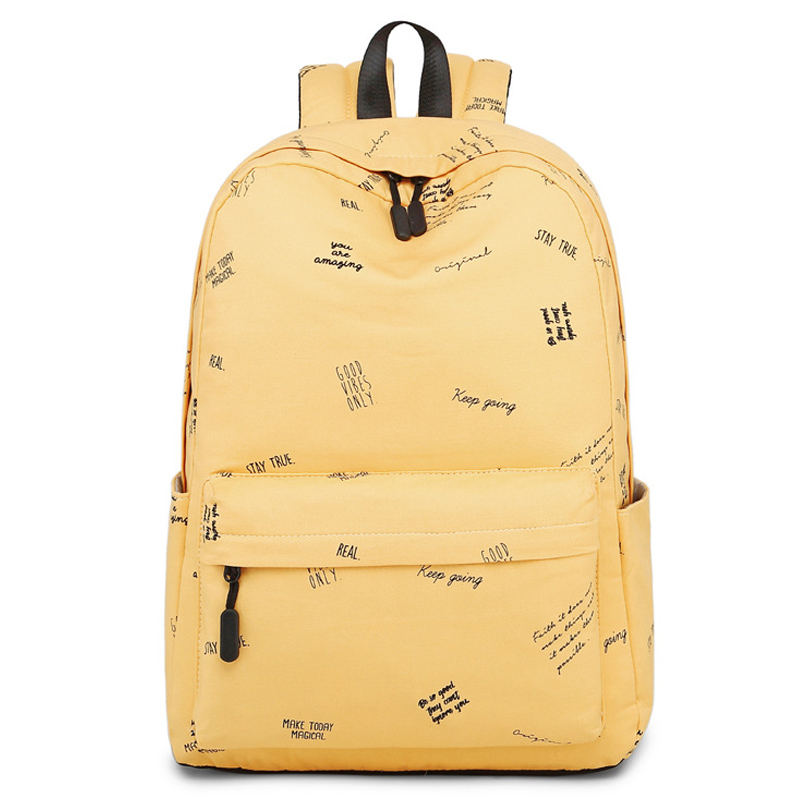 Fashion Women Cotton Solid Letter Printing Backpack Student Bag School Girl Casual Shoulder Bag Ladies Laptop Travel Bag fashion solid laptop backpack women usb charging polyester waterproof shoulder bag ladies school bag student casual travel bags