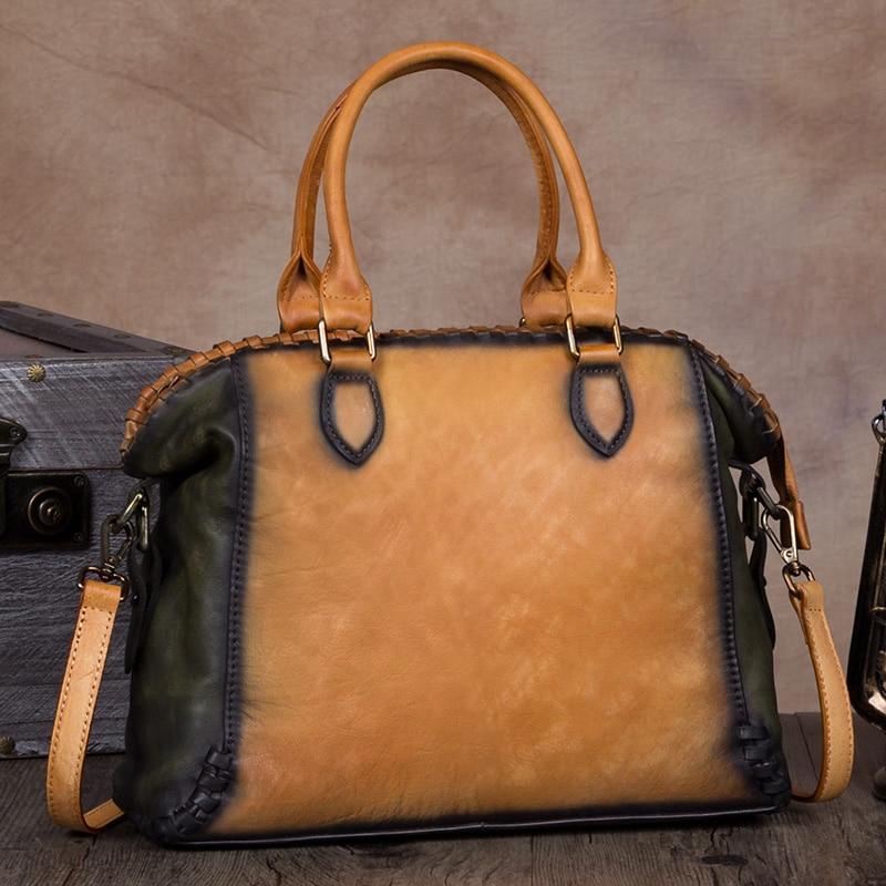 빈티지 우아한 여성 가방 수제 정품 가죽 어깨 가방 여성 거리 레저 메신저 가방 대용량 핸드백-에서숄더 백부터 수화물 & 가방 의  그룹 2