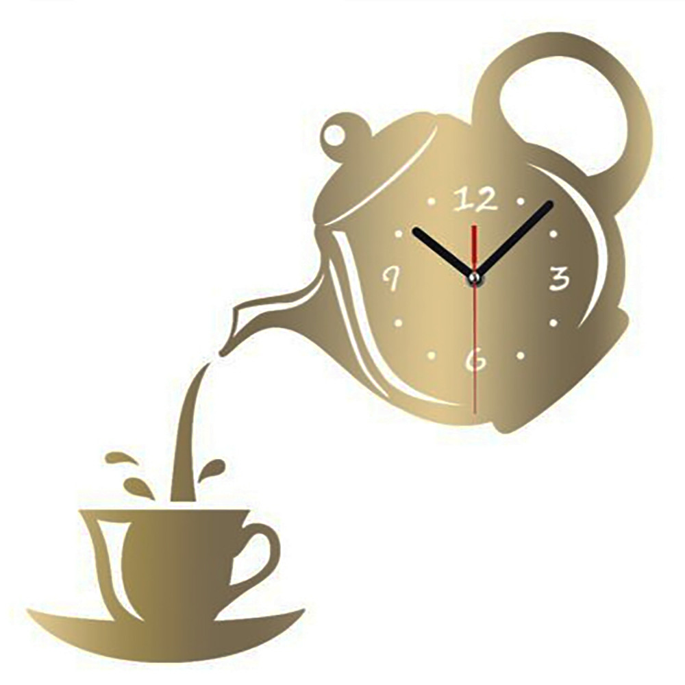 Teapot Wall Clock Watch Mirror Coffee Cup Wall Watch Clocks