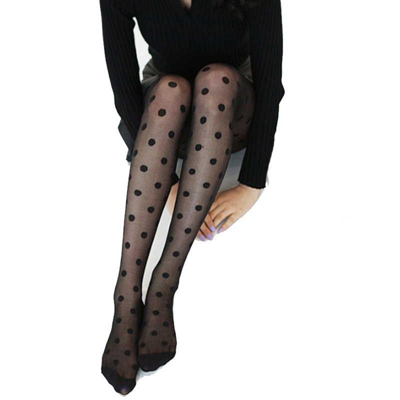 New Pantyhose Women Tights Black And White Big Dots Entirely Seamless Sexy Sheer Stockings Tight Female pantyhose 2017