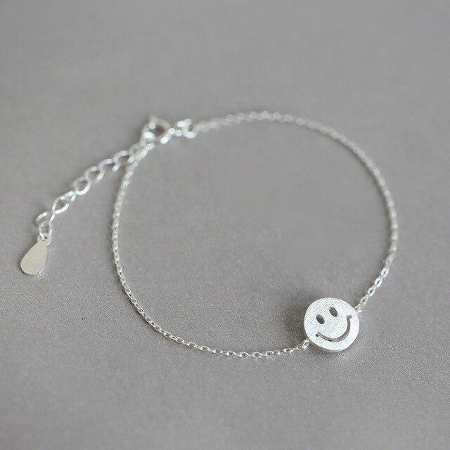 e225ffa0a343c US $8.66 |925 Sterling Silver Smile Face Emoji Bracelets For Women Fashion  sterling silver jewelry joyas de plata 925 Hot Sale-in Charm Bracelets from  ...