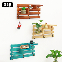 Vintage wooden wall shelf Holder Wall Mounted three layers storage rack with Hooks for Home Living Room Bedroom Decorations