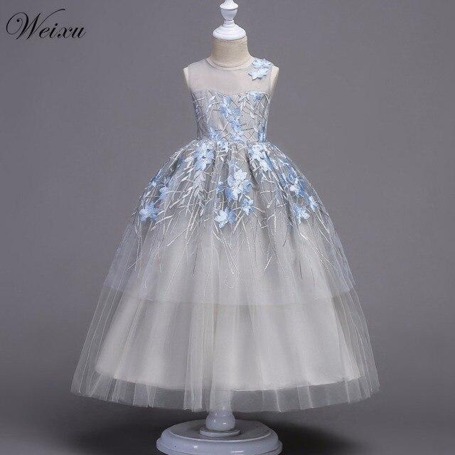 1238fb949 Weixu Summer Kids Long Cinderella Dress Child Girls High Waist Embroidered  Floral Princess Dresses for Wedding