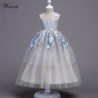 Weixu Summer Kids Long Cinderella Dress Child Girls High Waist Embroidered Floral Princess Dresses for Wedding Birthday Party